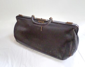 French Antique Black Leather Cabinet Traveling or Doctor Bag including the original key circa 1900 v807