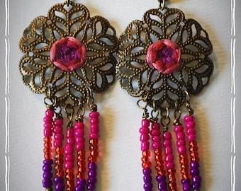 British Rose Mandala  Bohemian Dangle Earrings - Boho Earrings - Zen Earrings - Hippie Earrings - Gypsy Earrings - Meditation