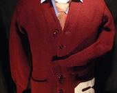 Vintage Collegiate Varsity Letterman Sweater Cardigan