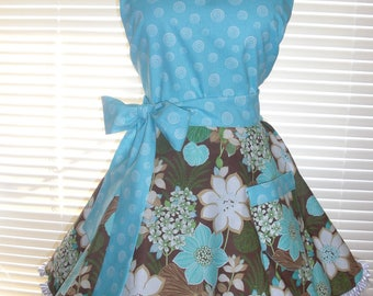 Retro Pinup Style Apron Flirty Circular Skirt Teal Aqua and Brown Floral Accented with Ruffled Ribbon Paired with Teal and White Spirals