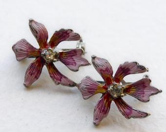 Vintage Pink Purple Enamel Metal Orchid Flower Scatter Pins Set Pair Brooch