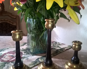 Candlesticks Solid Brass With Wood Inserts  Set of 3