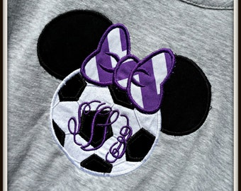 Disney Soccer Ball Minnie Head Inspired Embroidered Shirt for Children and Adults