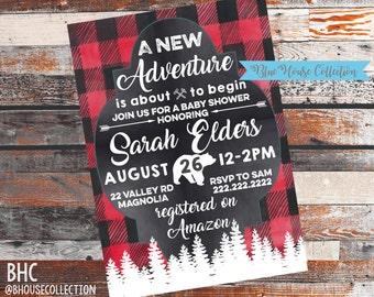 Baby Shower Invitations. Lumberjack. Adventure. Lumberjack Baby Shower. Camping Adventure baby Shower Invitation. Shower Invite. Baby Shower