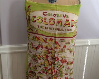 Women's Vintage Accessories / 'Colorful Colorado the Centennial State' Scarf / Vintage Colorado Map Scarf / Collectible Map Scarf / 1950's