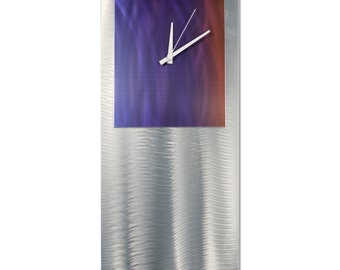 Blue/Red Modern Clock 'Sunset Studio Clock' by Nate Halley - Metal Wall Decor Funky Art Clock on Ground and Colored Aluminum