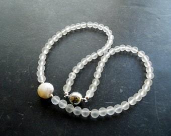 Chain rock crystal, Druze, magnetic closure, bride, matt,