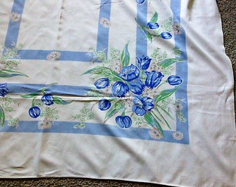 Vintage Blue Tulip Tablecloth60 by 72 Inches