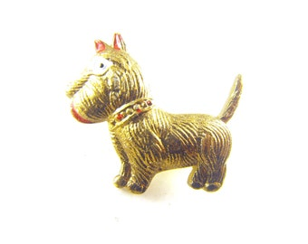 Vintage Dog Pin Stamped Brass Hollow Ware Terrier Funny Cold Painted Details Super Cute