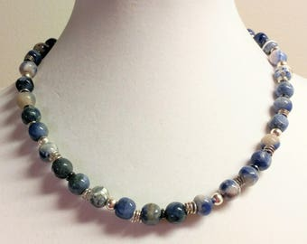 Sodalite and hematite silver necklace