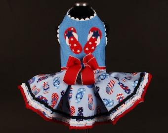 SAMPLE SALE:  USA Flip Flops Dog Dress