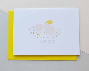 Easter Chicks - Happy Easter Greeting Card (Free UK delivery)