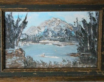 vintage oil painting miniature mountain snow lake scene signed