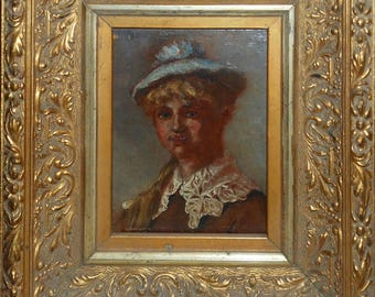 vintage 19 th century  oil painting girl with blue hat framed