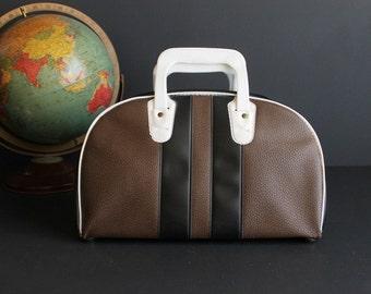 Vintage Gym Bag Black and Brown Small Duffel