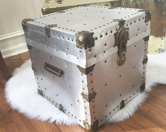 Vintage Chest Riveted Aluminum Cube Italian Trunk Brass Encased Box Hollywood Regency End Table Industrial  Loft Farmhouse  Eclectic Decor