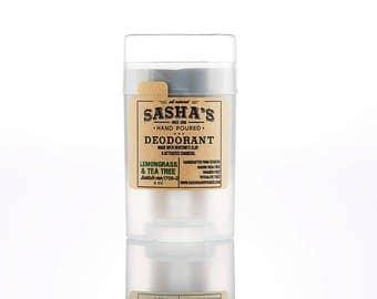 Natural Deodorant Lemongrass - activated charcoal - baking soda free - sensitive skin - sasha - organic deodorant - detox -