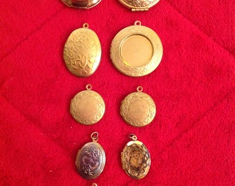 Clearance Sale 25% Off Was 14.00 Vintage Lot of 10 Gold Tone Hanging Lockets For Jewelry Making Destash