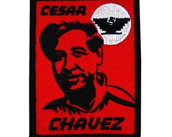 "Iron-On Patch ""Cesar Chavez"" Union Labor Rights Famous Mexican-American Applique"