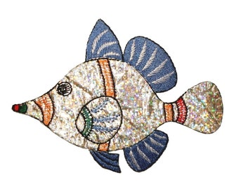 ID 0198 Tropical Fish Shiny Patch Ocean Sea Swimming DIY Iron On Applique