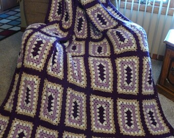 Huge Orchid Oblong Granny Square Afghan FREE SHIPPING on 2nd Item to Same Address