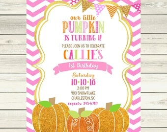 12  Pumpkin Birthday Party invitations -girls- glitter pumpkin our little pumpkin is turning one - any age