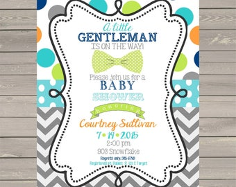 Bow Tie Baby Shower Invitations Baby Shower invitations little gentleman- bowtie- printable or digital file - DIY invites ANY COLORS
