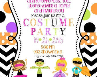 18 Costume Birthday party Invitations with envelopes - Fall- Halloween