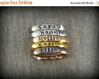 25% OFF Personalized Stackable Name Ring - Stacking Rings - Matte, Shiny, Rose Gold, Gold and Coffee Colors - 3mm Width