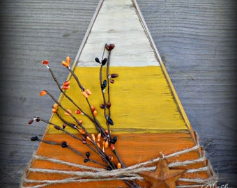 Primitive Wooden Candy Corn Table Sitter~Halloween Decor~Large Wooden Candy Cane~Rustic Halloween~Primitive Halloween~Fall Decor