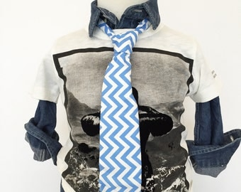 Blue Chevron Necktie