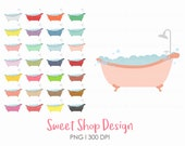 Bathtub Clip Art, Bath Tub Clip Art,  Rainbow Colors, Royalty Free Clip Art, Planner Stickers, Instant Download