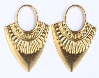 Raw Brass Metal Stamping Earring Arrow Ornament drops (2)