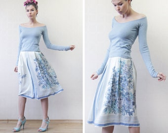 Vintage pure silk light blue floral print high waist flared A line knee length midi skirt S