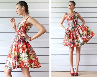 Vintage red green exotic orchidea print above the knee slim waist full skirt summer midi dress XS