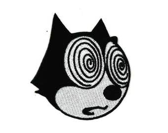 "3"" Tripping Fur Balls Felix the Cat Iron-On Patch horror goth gothic rockabilly burlesque emo scene kid rainbow pastel kawaii kitten cute"