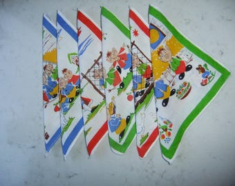 Vintage Swedish set of six  Childrens handkerchiefs - Funny printed motifs