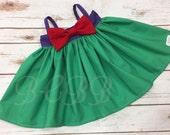 Princess Ariel Dress, Ariel Colors,  Toddler Dress, Halloween Costume, Dress Up, Princess Play Dress Purple Green Any Princess