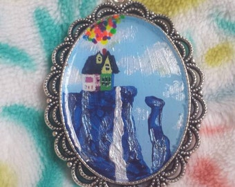 Disney Inspired up house at paradise falls hand painted pendant jewelry