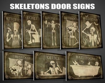 Door signs of your choice,Toilet, Bathroom,Laundry,Bedroom,horror,Kitchen,Welcome,Office,signs,skull,skeletons,Halloween,gothic,father's Day