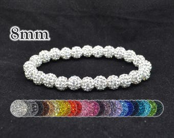 White Pave Crystal Ball Bead Stretch Bracelet - 8mm - 0824B