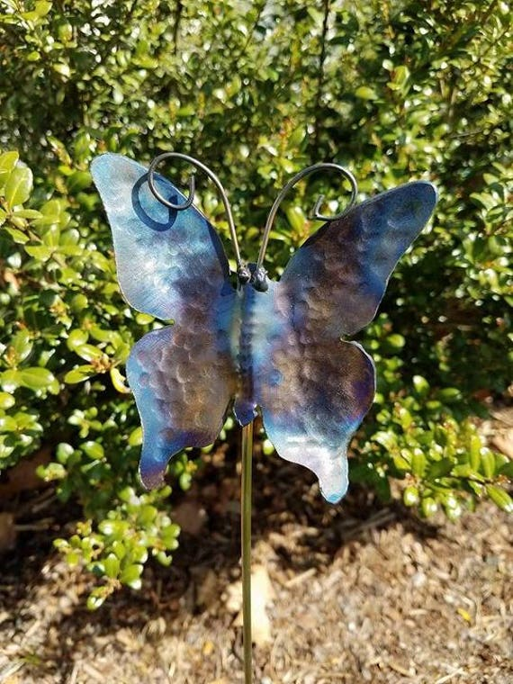 Garden stake, Butterfly, Hand Hammered Steel, Metal garden decor, garden sculpture, 18""
