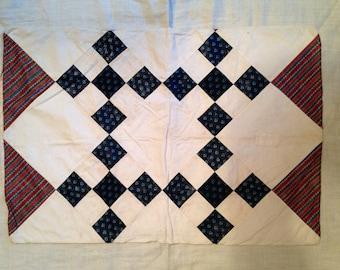 Single nine patch  antique patchwork pillowcase ca. 1850