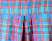 Rainbow Plaid Vintage Summer Blouse / Retro Sleeveless Colorful Plaid Top / Lightweight Cotton Rainbow Button Down