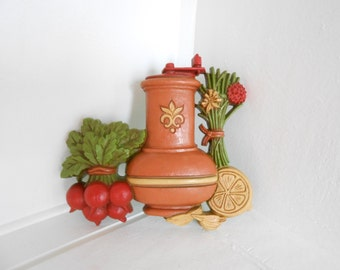 Home Interior Wall Hanging, Coffee Grinder, Radish, Lemon and Bouquet 70s Home Decor