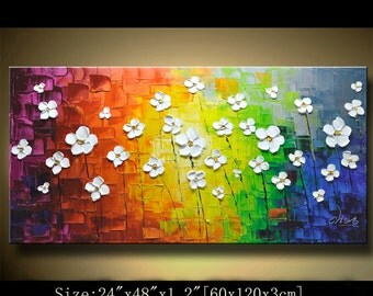 contemporary wall art,Palette Knife Painting,colorful Landscape painting,wall decor,Home Decor,Acrylic Textured Painting ON Canvas Chen 0104