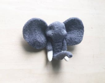 Elephant Brooch // Elephant Wall Mount // Needle Felted Elephant // Elephant Ornament