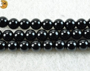 15 inch strand of natural Black Onyx smooth round beads 2mm 3mm 4mm 6mm 8mm 10mm 12mm 14mm 16mm 18mm 20mm