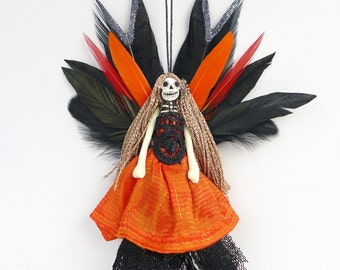 Day of the Dead Fairy Peg Doll Ornament, Skull Face, One Of A Kind Skeleton Fairy