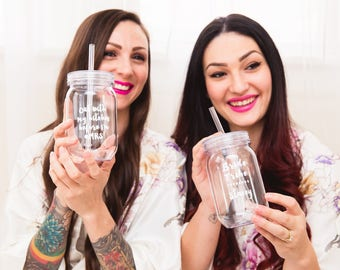 Custom bridesmaid and bride mason jar cups for bachelorette party, personalized bridesmaid proposal gift,
